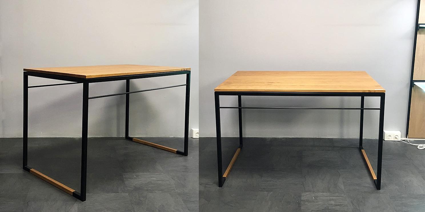 Mesa de acero y madera para tienda